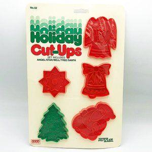 Set of 5 Vintage Hutzler Christmas Plastic Cookie